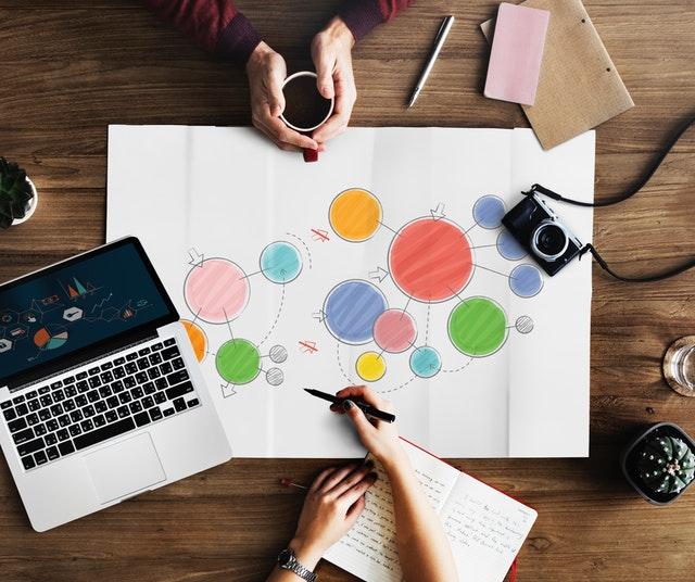Žna ukazuje a kreslí plánek bublin, vedle má notebook a mužské ruce před ní drží hrnek s kávou.jpg